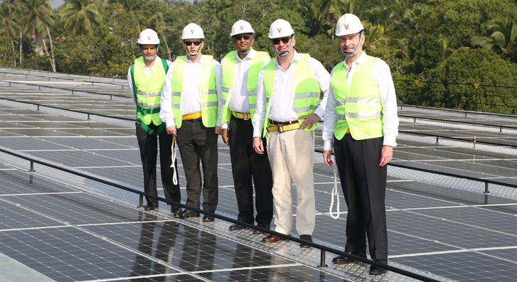 At the unveiling of the new solar power system on 9th February are: (left to right) Gihan Jayasinghe, Director, Finlays Colombo, Merlin Swire, Chief Executive of John Swire & Sons, Kumar Jayasuriya, Chairman of Finlays Colombo, Philippe De Gentile-Williams, Chairman, James Finlay Limited, and Hunter Crawford, Managing Director, Finlays Colombo.
