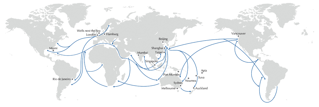 Swire Bulk's global trading footprint.
