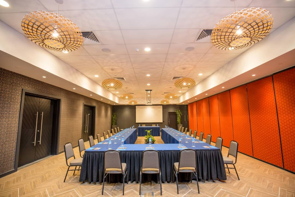 The new facility provides an ideal environment for business symposiums.